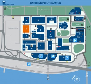 QUT Gardens Point campus wayfinding map